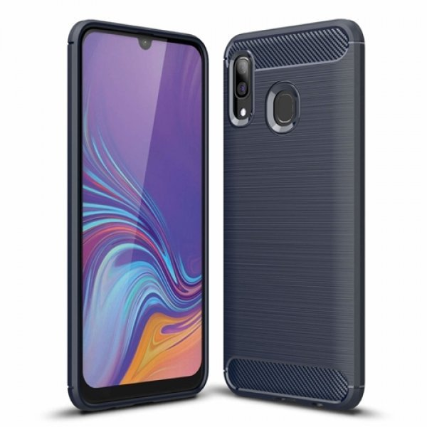 Carbon Case Flexible Cover TPU Case for Samsung Galaxy A30 Blue