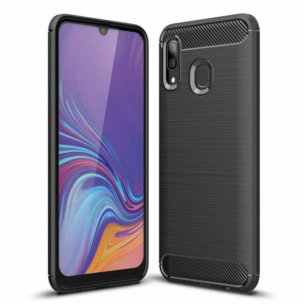 Carbon Case Flexible Cover TPU Case for Samsung Galaxy A30 black