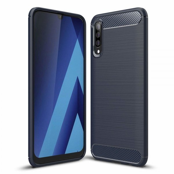Carbon Case Flexible Cover TPU Case for Samsung Galaxy A50 Blue