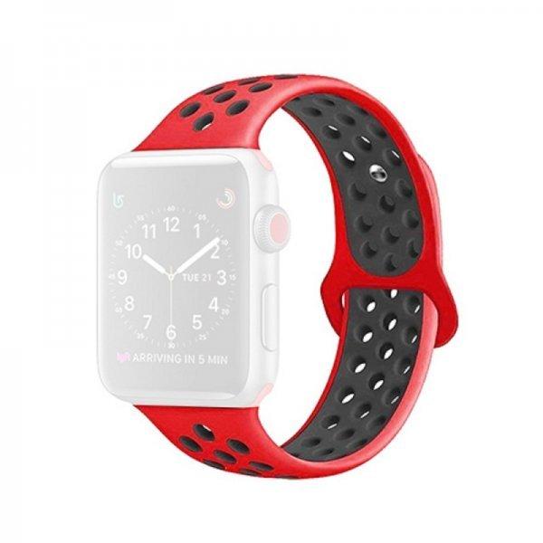 Bikson  Λουράκι Σιλικόνης Κόκκινο Μαύρο (Apple Watch 38mm)