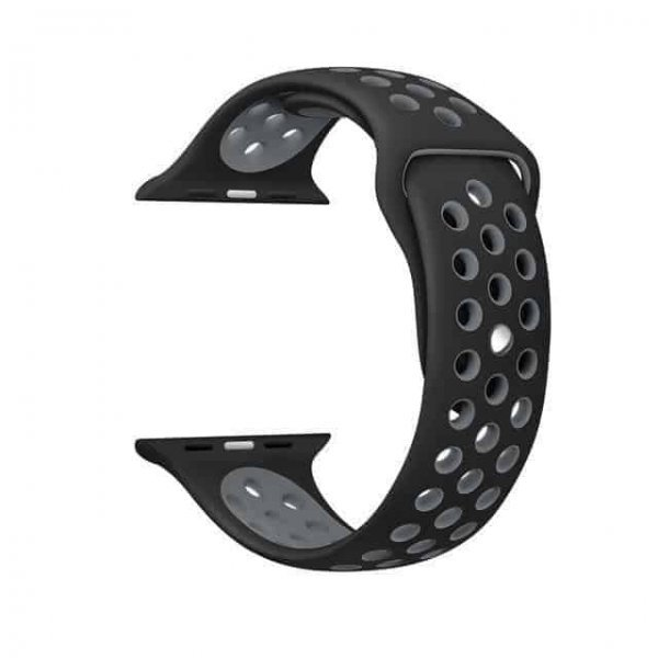 Bikson  Λουράκι Σιλικόνης Μαύρο Γκρι (Apple Watch 42 mm)