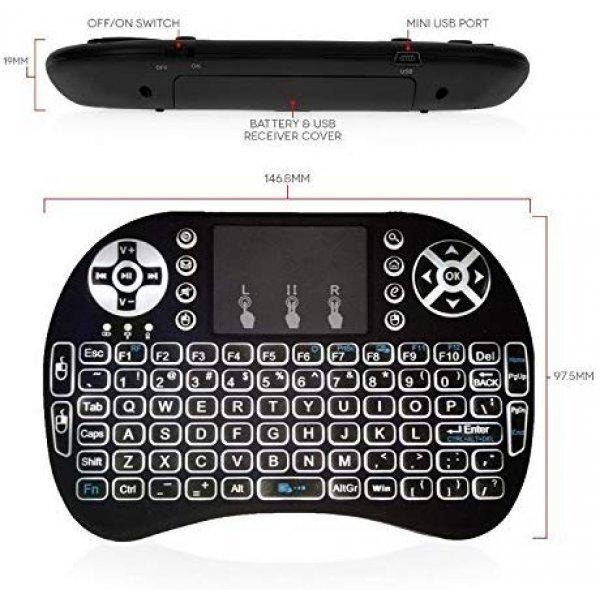 Ασύρματο πληκτρολόγιο Rii i8 2.4GHz RF Wireless Mini Keyboard with Touch Pad Mouse Black