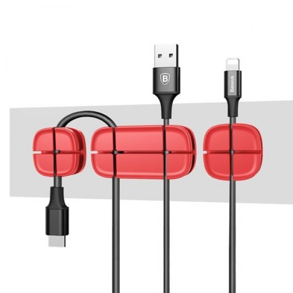 Baseus Cross Peas self-adhesive Cable Organizer Cable Clip Red