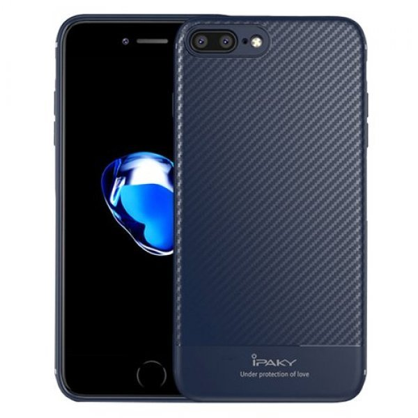 iPaky Carbon Fiber flexible cover TPU case for iPhone 8 / 7 Plus Blue