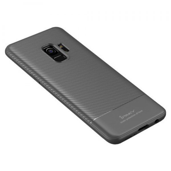 iPaky Carbon Fiber flexible cover TPU case for Samsung Galaxy S9 Plus G965 grey