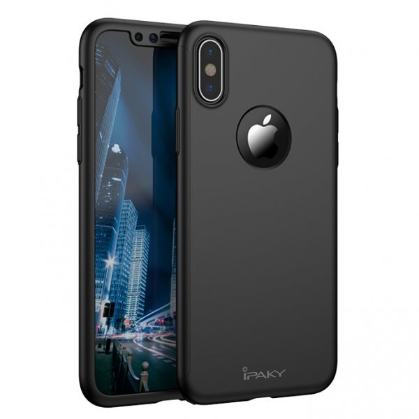 iPaky 360 Protection front and back full body case + tempered glass iPhone X Black
