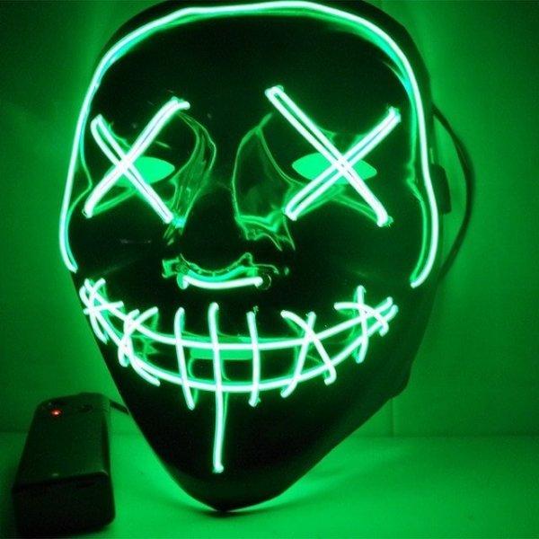 Μάσκα με φωτισμό Led Neon, Πράσινο