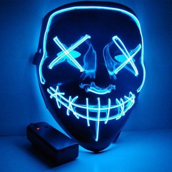 Μάσκα με φωτισμό Led Neon, Μπλέ