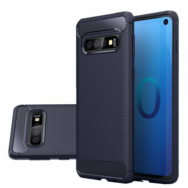 Carbon Case Flexible Cover TPU Case for Samsung Galaxy S10, blue