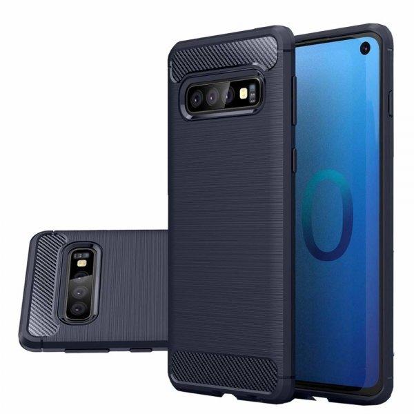 OEM Carbon Case Flexible Cover TPU Case για Samsung Galaxy S10, Μπλε