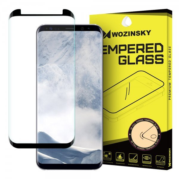 Wozinsky Tempered Glass 3D Screen Protector Full Coveraged with Frame for Samsung Galaxy S8 Plus G955, Crystal Clear
