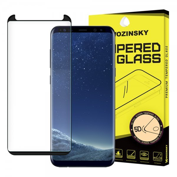 Wozinsky Tempered Glass 3D Screen Protector Full Coveraged with Frame for Samsung Galaxy S8 Plus G955, black