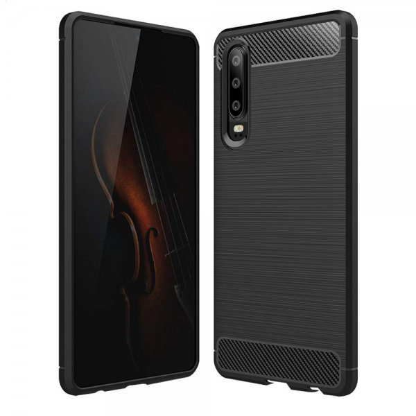 OEM Carbon Case Flexible Cover TPU Case for Huawei P30, Μαύρη