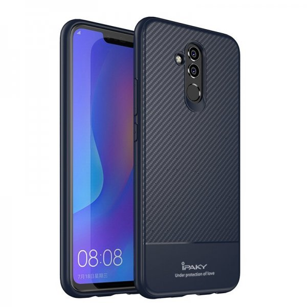 iPaky Carbon Fiber flexible cover TPU case for Huawei Mate 20 Lite blue