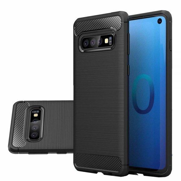 OEM Carbon Case Flexible Cover TPU Case για Samsung Galaxy S10, Μαύρη