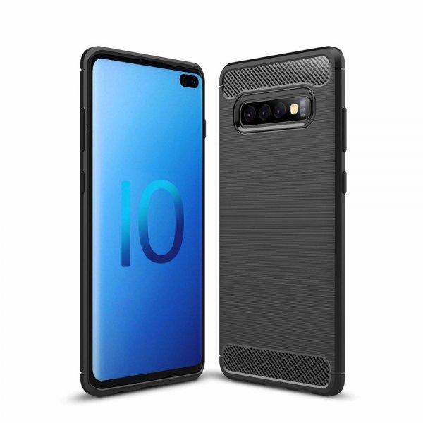 Carbon Case Flexible Cover TPU Case for Samsung Galaxy S10, black