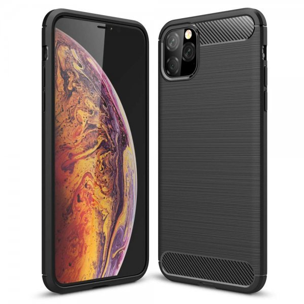 OEM Carbon Case Flexible Cover TPU Case for iPhone 11 Pro Max black