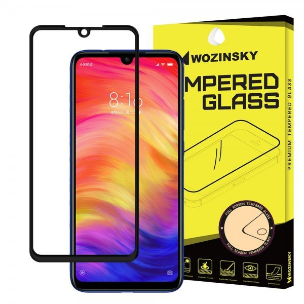 Wozinsky Tempered Glass Full Glue Super Tough Screen Protector Full Coveraged with Frame Case Friendly for Xiaomi Redmi Note 7 black