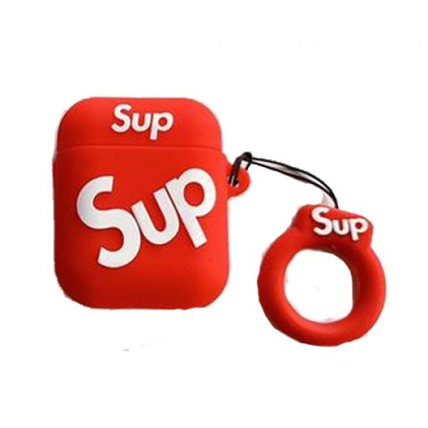 Fashion Brand SUPREME Airpods Silicone Cover Case Red
