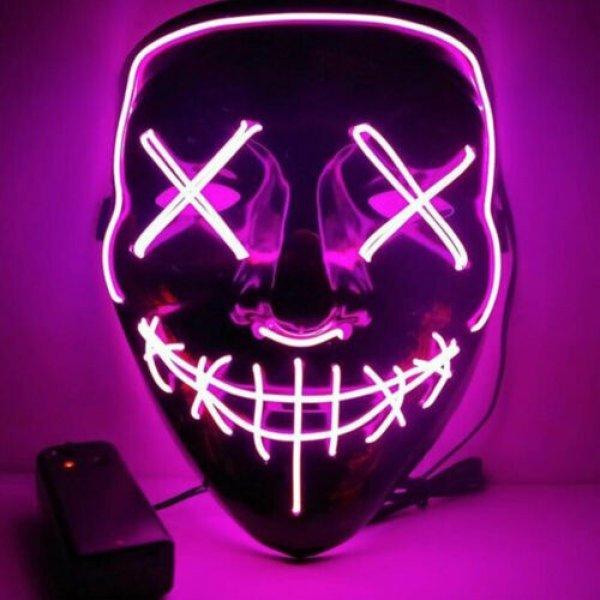 Μάσκα με φωτισμό Led Neon, Φούξια